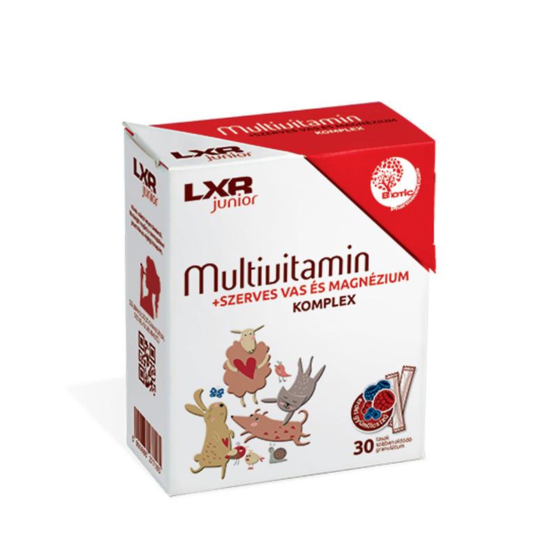 LXR Junior Multivitamin + Szerves vas és Magnézium Komplex étrend-kiegészítő