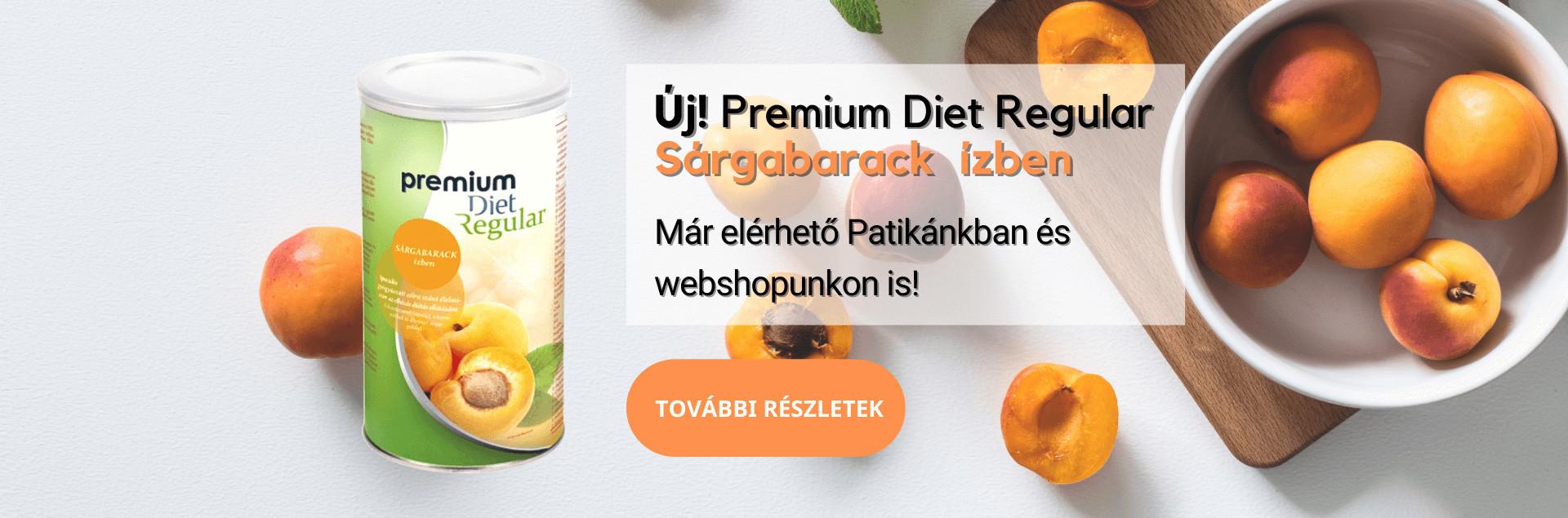 PREMIUM DIET REGULAR - SÁRGABARACK ÍZŰ (440 G/25 ADAG)